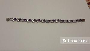 Браслет с аметистами и фианитами, указано, что серебро 925 новый длина 20 см