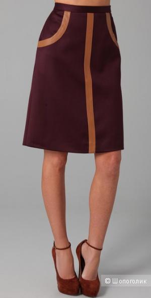 Шерстяная юбка с кожаной отделкой бренда Raoul размер US 8