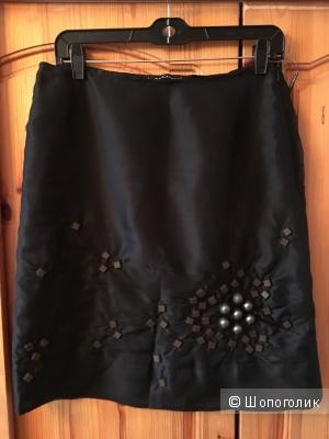 Нарядная черная шелковая юбка Luisa Cerano размер IT44