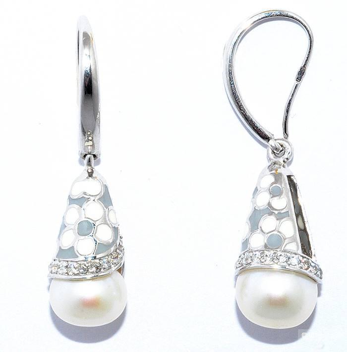 Красивые серебряные серьги Silver Wings с жемчугом, эмалью и кубическим цирконом новые