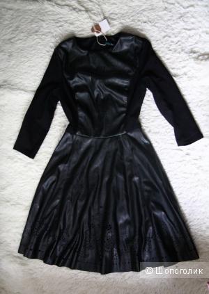 Befree новое черное платье кожа(кож.зам.) с перфорацией на юбке 34 размер/xs