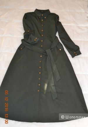 Платье  темно -зеленого цвета, в пол(макси) осень-зима, р. 44-48