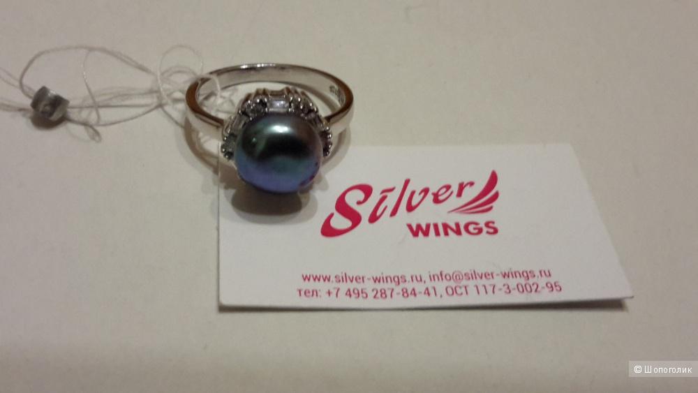Кольцо Silver wings с жемчугом и куб.цирконием размер 17,75