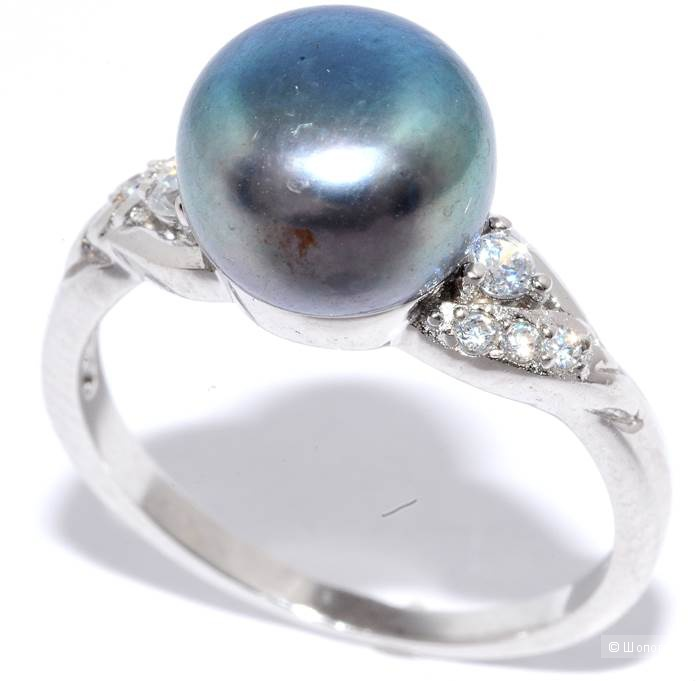 Кольцо Silver wings очень красивое с жемчугом и куб.цирконием размер 18,5
