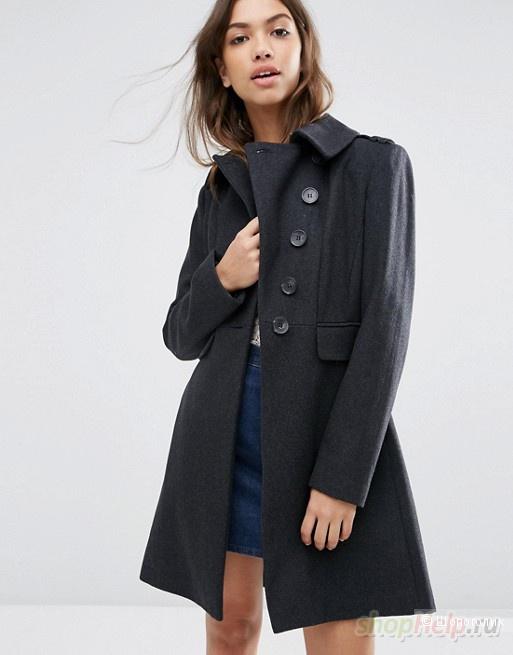 Пальто ASOS Coat with Split Skater Skirt