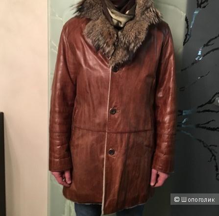 Дубленка мужская, Albertini Collezione, коричневая 48-50