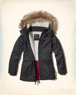 Утепленная куртка парка Hollister серая с капюшоном