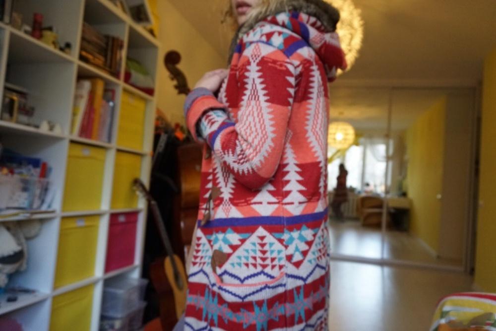 Яркий кардиган Bershka в этническом или бохо стиле, красно - бело розовый мультиколор, размер S - M