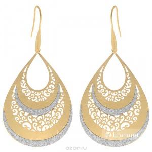 """Оригинальные серьги """"Afrodita"""" фирма Selena, выполненные из металла с гальваническим покрытием позолота, декорированных блестками"""