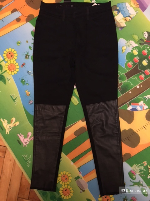 Джинсы Levi's Black Super Skinny с кожей, размер 32 / 32