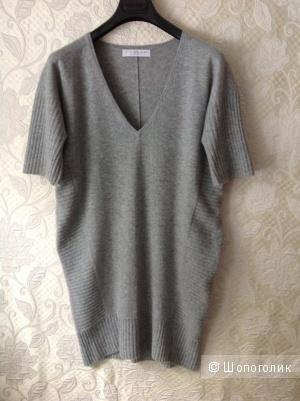 Кашемировое платье меланжевого цвета  46-48