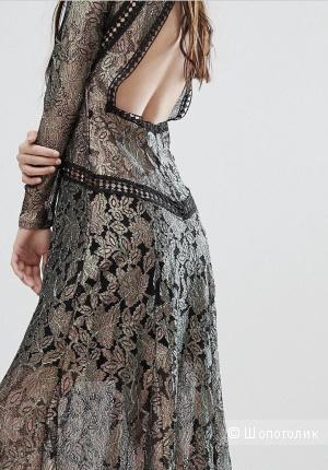 Кружевное платье BOOHOO с эффектом металлик
