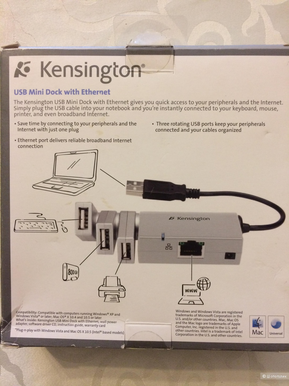 Мини док-станция Kensington USB с Ethernet  Mac/PC
