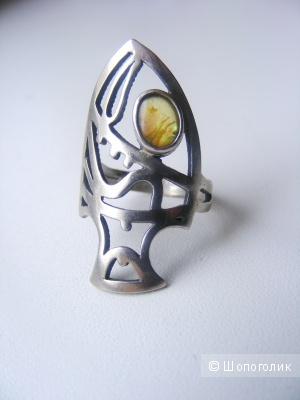 Кольцо в форме рыбы серебро 925 пробы 17,5 размер