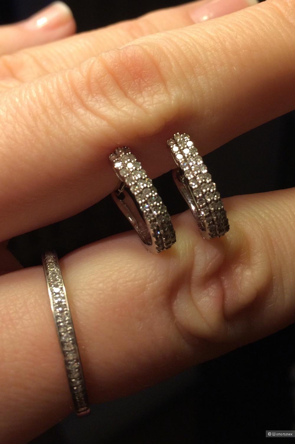 Бриллиантовый набор сергьги/кольцо
