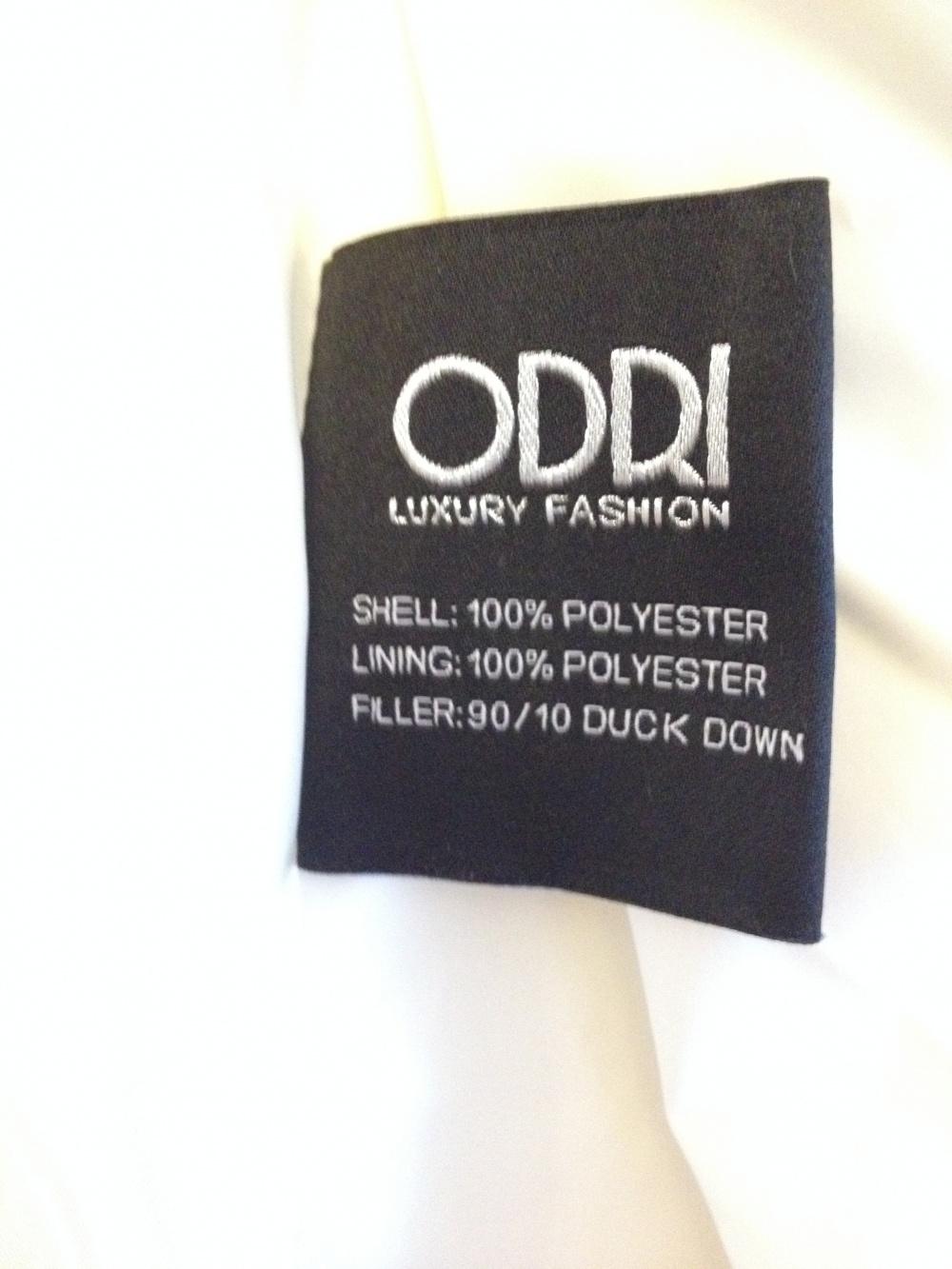 Пуховик ODRI модель Ines, новый, размер 40 it, молочного цвета