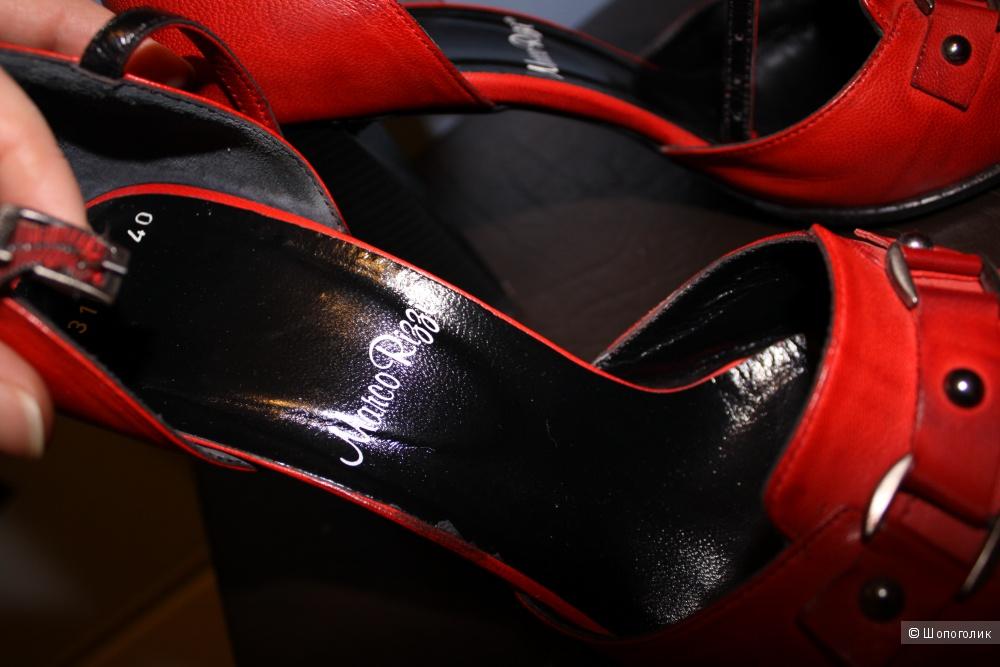 Туфли Marco Rizzi, кожа, красные, б/у 2 раза, размер 40-41
