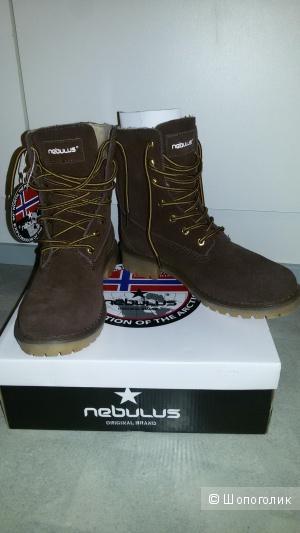 Оригинальные немецкие зимние замшевые женские ботинки Nebulus 38 р. (новые)