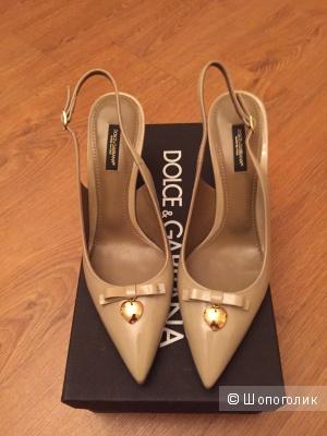 Лаковые лодочки-босоножки Dolce&Gabbana 38 размер
