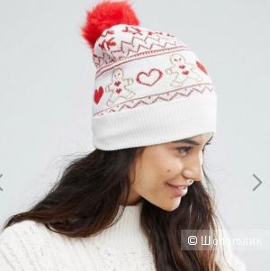 Вязаная шапочка с рождественским рисунком