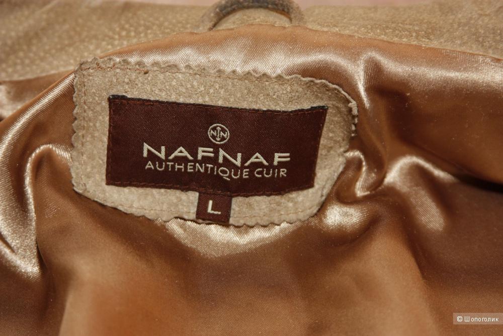 """Плащ замшевый. """"NafNaf"""". Б/У. Бежево-песочный. Размер L, По факту 46 RUS."""