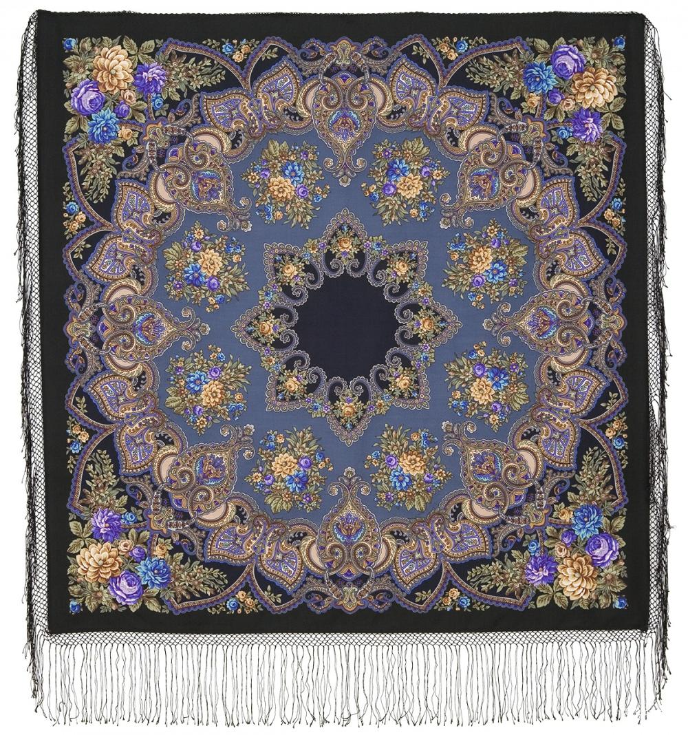 Павлопосадская шаль из уплотненной шерстяной ткани с шелковой бахромой «Майя 148*148 см новая