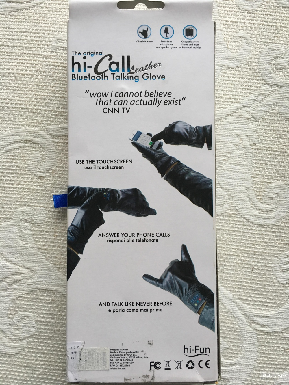 Перчатки hi-call bluetooth talking glove натуральная кожа