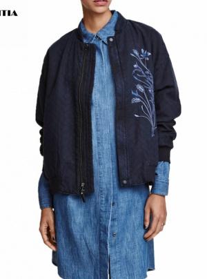 Женская куртка стеганая с вышивкой р. 44-48