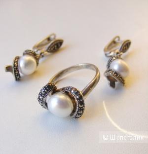 Комплект серебро 925 жемчуг марказиты серьги и кольцо 17,5 размер