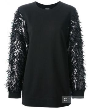 Черный свитер-толстовка оверсайз с паетками DKNY, размер S, подойдёт на размер 42-46