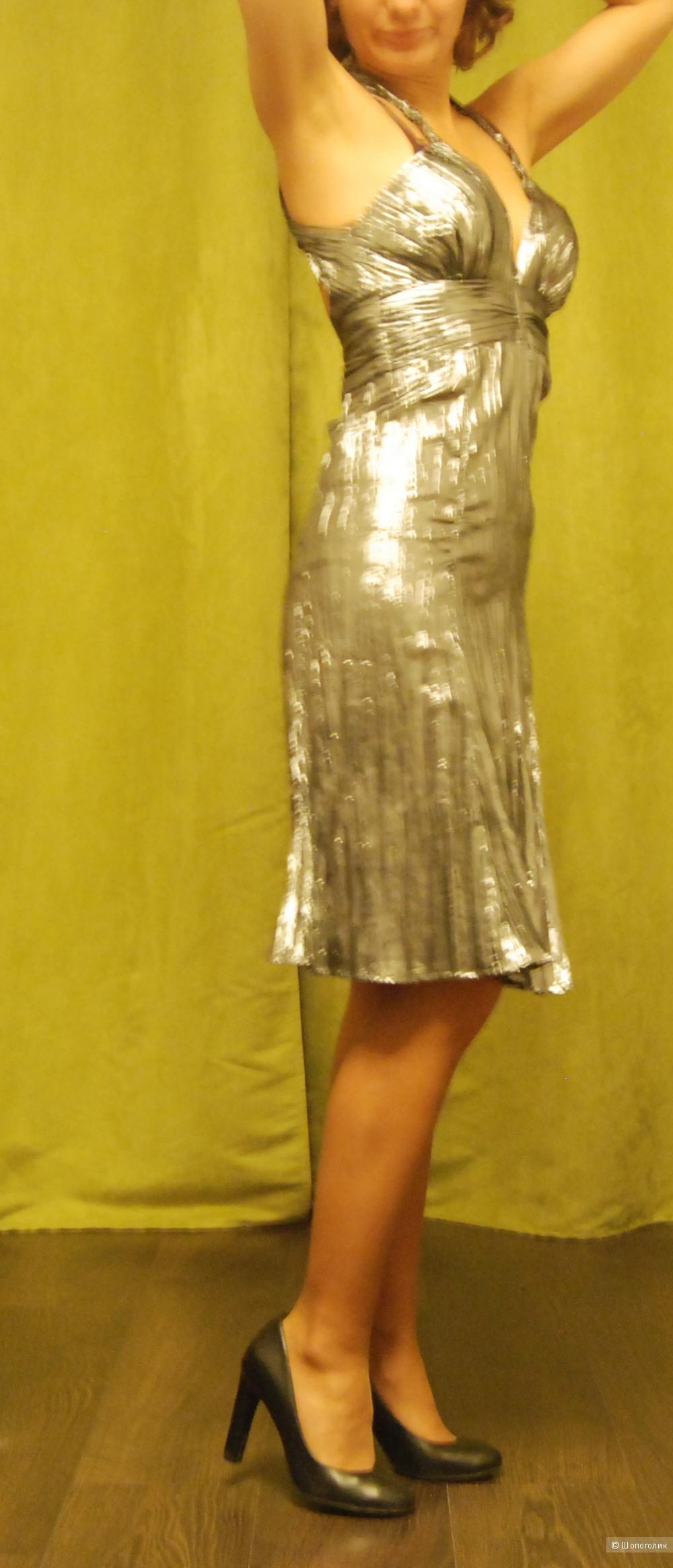 Серебренное коктельное платье 42-44
