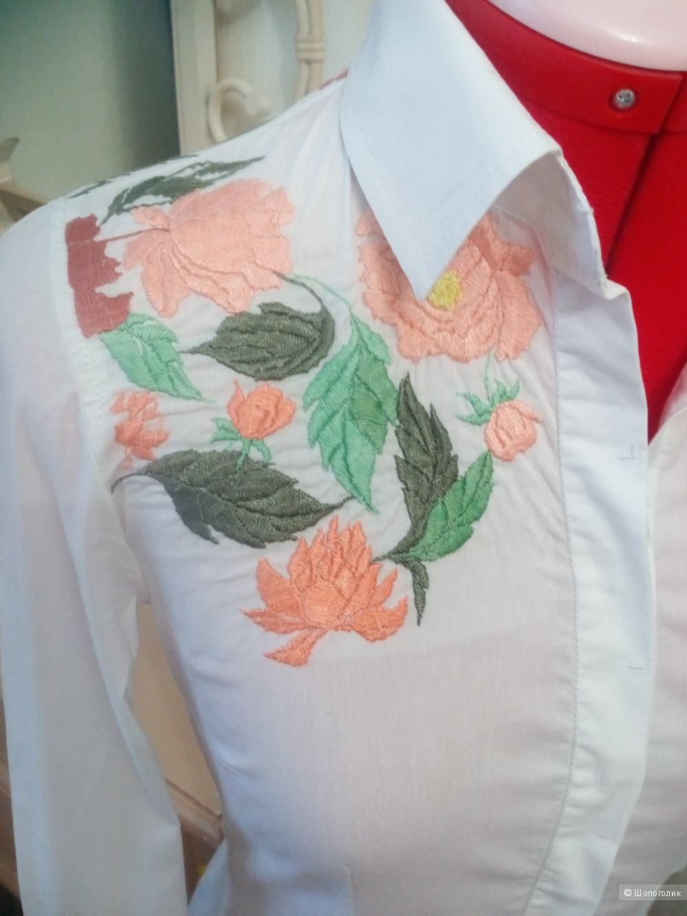Белая рубашка-боди с вышивкой