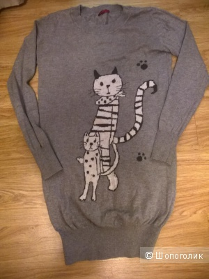 Веселенький свитер-туника с шерстью 42-44