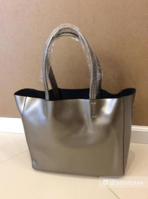 Большая женская сумка из кожзама серо-серебристого цвета