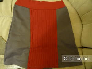 Тёплая серая юбка made in Mauritius, б/у, размер 42