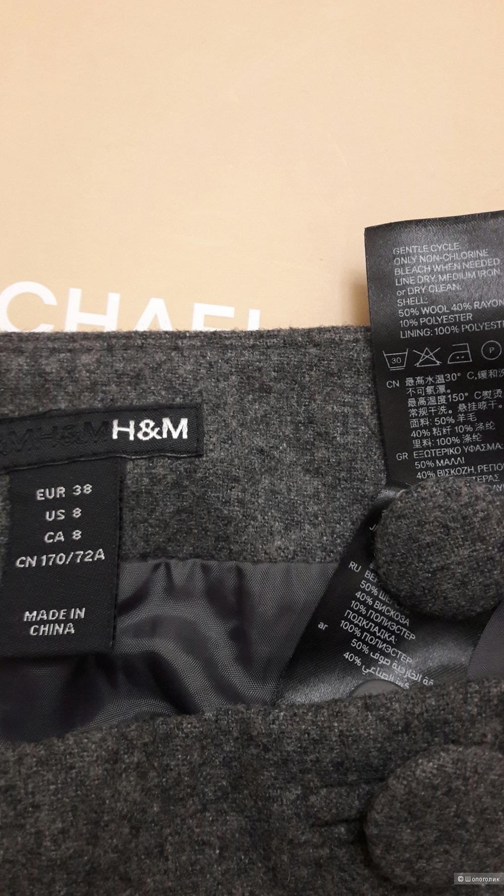 H&M: теплая, прямая юбка, 38