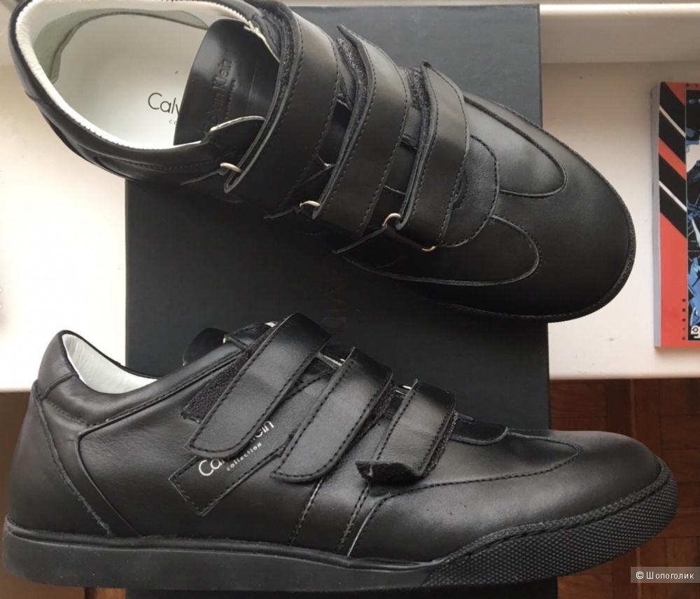 Мужские Черные кожаные кеды Calvin Klein