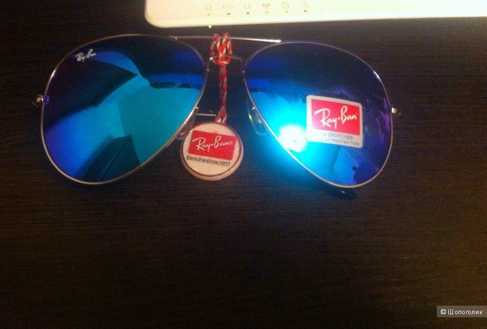 Солнцезащитные очки Ray Ban aviator/авиатор зеркальные синие (унисекс),новые