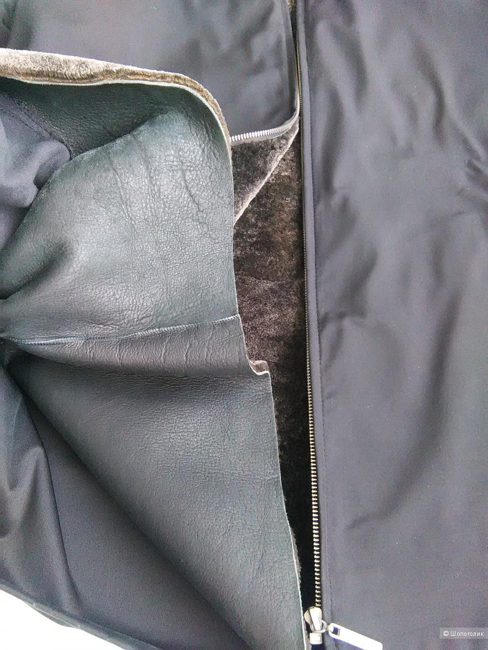 Куртка на натуральном меху LAGERFELD (Франция), р. 52-54, черная