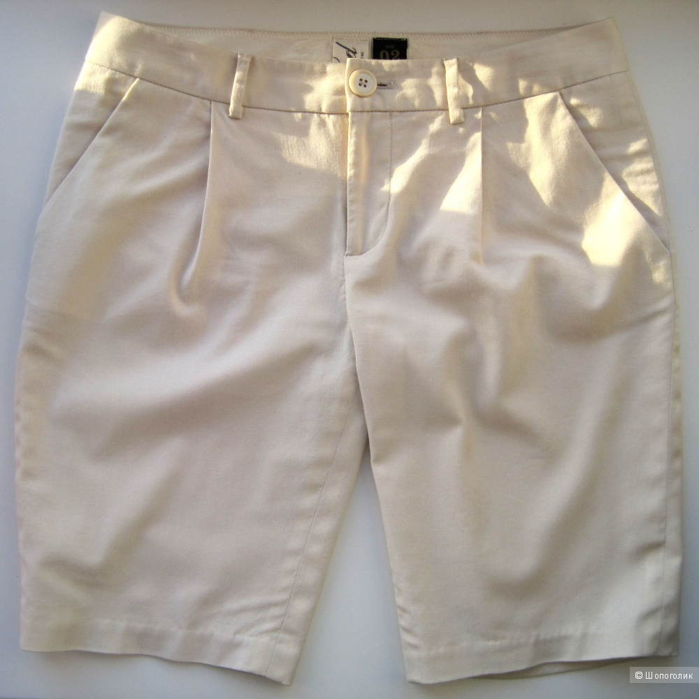 Летние длинные шорты брючного типа Bird by Juicy Couture кремового цвета, хлопок, шерсть