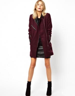 Новое бордовое пальто ASOS PETITE