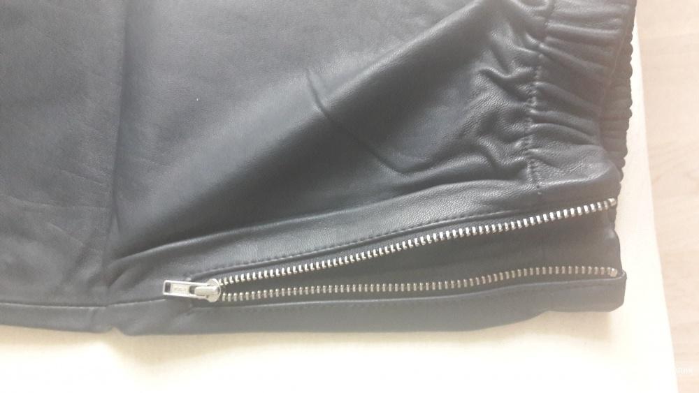 Новые кожаные брюки Asos 44 европейский (российский 50 размер) темно-синего цвета