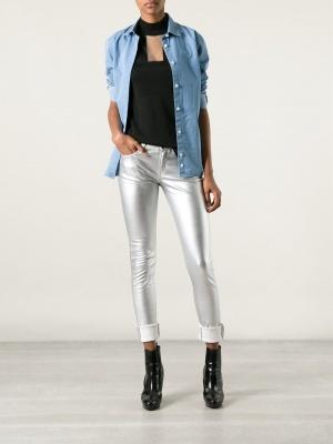 Вау серебрянные брюки Saint Laurent