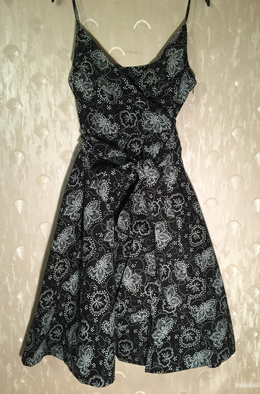 Воздушное платье с бантом на талии, размер