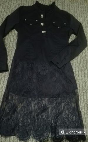 Платье рубашка 42-44 с кружевом