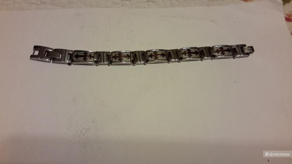 Браслет стальной с литыми крестами бронзового цвета Spiker б/у