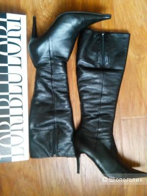 Сапоги LORIBLU (Италия) на каблуке, р. 38, натуральная кожа, натуральный мех, черные.