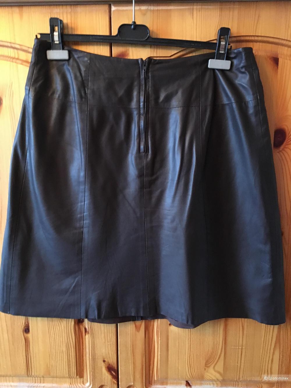 Шоколадная кожаная юбка французского бренда CAROLL размер FR 40
