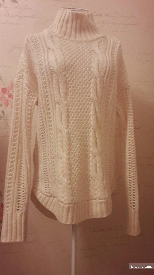 Свитер - туника крупной вязки Victoria's Secret оригинал,размер S (подойдет и на M),цвет- белый