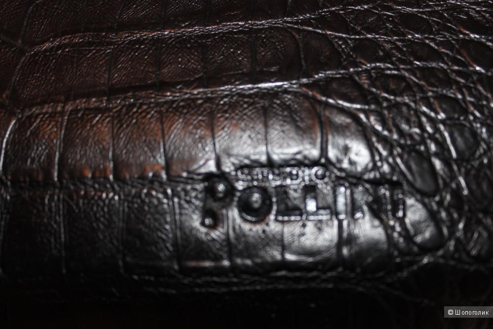 Сумка кожаная STUDIO POLLINI, Италия, цвет черный